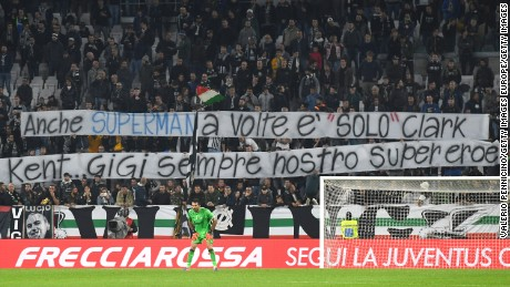 Juventus fans unveiled a banner in support of 'Superman' Buffon.