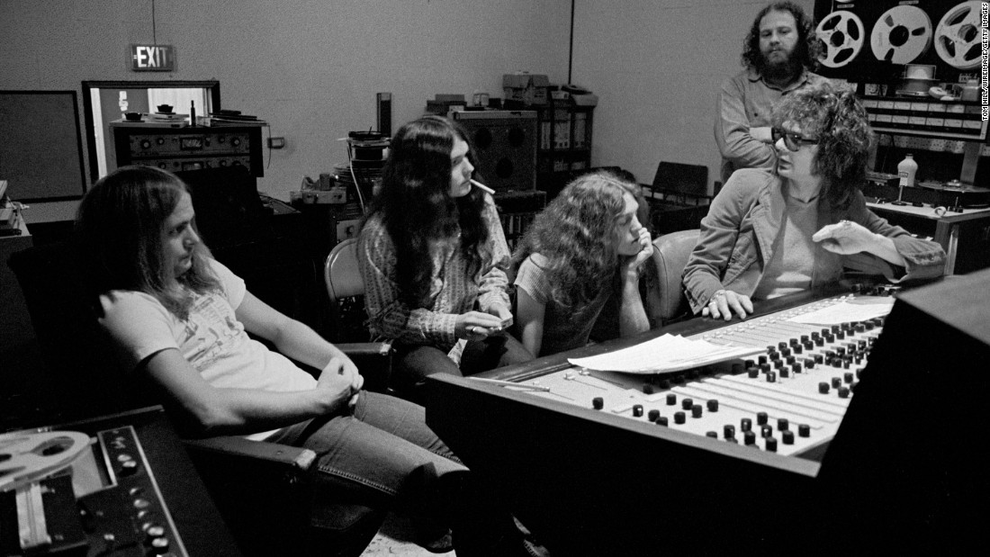Kooper, right, works in an Atlanta studio with members of the band: from left, Van Zant, Gary Rossington and Allen Collins. The band, from Jacksonville, Florida, was first formed as My Backyard in 1964. It changed names several times before settling on Lynyrd Skynyrd -- a name mocking Leonard Skinner, a high school physical-education teacher that was strict about the school's policy regarding boys with long hair.