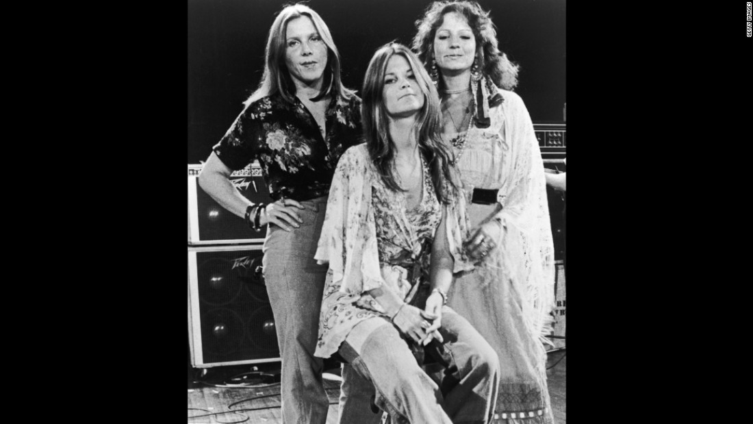 Providing backup vocals for the band's live performances were, from left, Cassie Gaines, Leslie Hawkins and JoJo Billingsley. Gaines and Van Zant were 29 years old when they died in the 1977 plane crash. Steve Gaines, Cassie's younger brother, was 28.