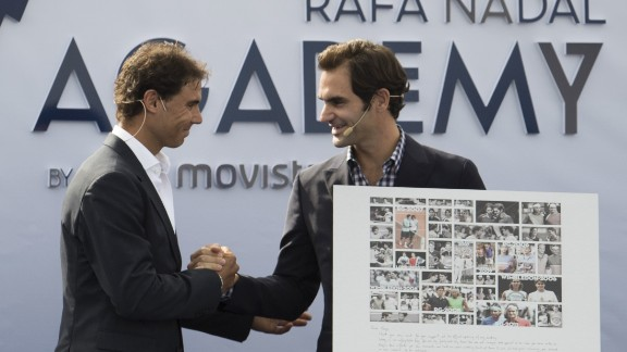 Roger Federer (right) helped Nadal open his academy in Manacor on October 19, 2016.