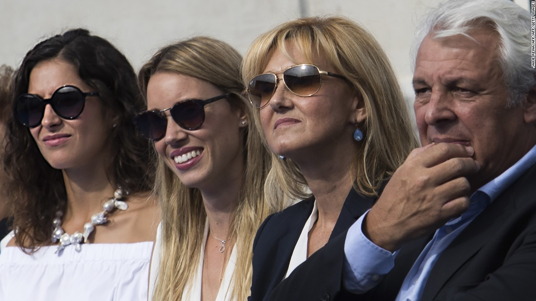 Nadal's loved ones attended the October 19 launch of the academy: (L-R) His partner Xica Perello, sister Maribel, mother Joana Maria and father Sebastian.