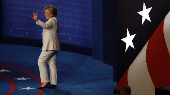 Clinton arrives for the start of the debate.