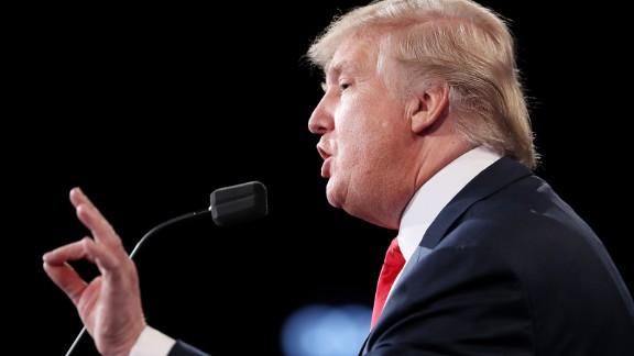Donald Trump gestures speaks during the third U.S. presidential debate at the Thomas & Mack Center on October 19, 2016 in Las Vegas, Nevada.
