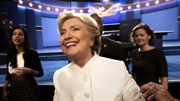Democratic nominee Hillary Clinton walks off stage following the presidential debate in Las Vegas on Wednesday, October 19.
