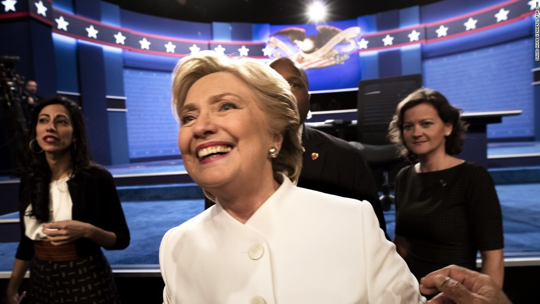 "Clinton greets the crowd after <a href=""http://www.cnn.com/2016/10/19/politics/presidential-debate-highlights/index.html"" target=""_blank"">the final presidential debate</a> of the 2016 campaign."