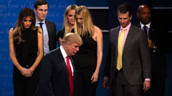 Republican nominee Donald Trump walks off stage with his family after the debate.