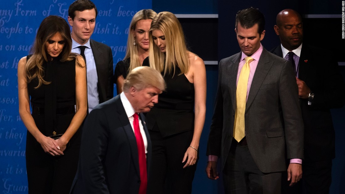 Trump with his family following the debate.