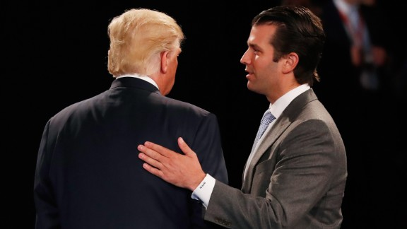 ST LOUIS, MO - OCTOBER 09:  Donald Trump, Jr. (R) greets his father Republican presidential nominee Donald Trump during the town hall debate at Washington University on October 9, 2016 in St Louis, Missouri. This is the second of three presidential debates scheduled prior to the November 8th election.  (Photo by Rick Wilking-Pool/Getty Images)