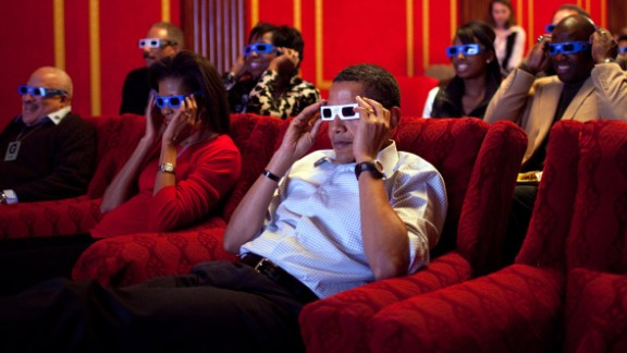 Obama wears 3-D glasses during a Super Bowl viewing at the White House on February 1, 2009.