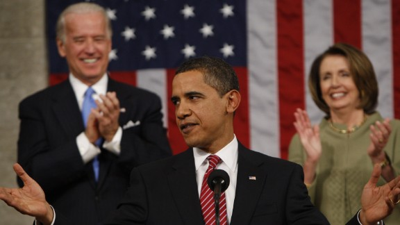 Obama acknowledges applause before addressing a joint session of Congress for the first time on February 24, 2009. The President focused on the three priorities of the budget he presented to Congress later in the week: energy, health care and education.