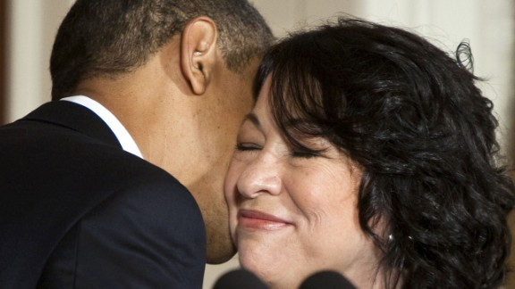 Obama kisses Sonia Sotomayor after announcing her as a Supreme Court nominee on Tuesday, May 26. Sotomayor went on to become the court
