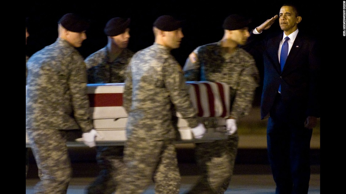 Obama salutes during the dignified transfer of Army Sgt. Dale R. Griffin on October 29, 2009. The President traveled to an Air Force base in Dover, Delaware, to meet a plane carrying the bodies of 18 Americans killed in Afghanistan.