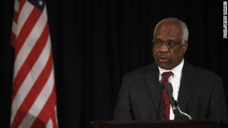 Supreme Court Justice Clarence Thomas speaks at the memorial service for former Supreme Court Justice Antonin Scalia at the Mayflower Hotel March 1, 2016 in Washington, DC.