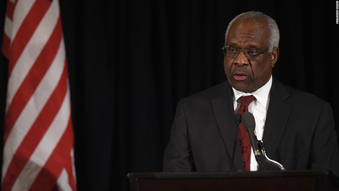 Thomas speaks at the memorial service for former Supreme Court Justice Antonin Scalia at the Mayflower Hotel in Washington on March 1, 2016.