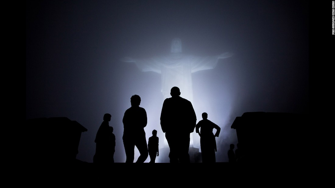 The first family tours the Christ the Redeemer statue in Rio de Janeiro on March 19, 2011. Obama visited Brazil, Chile and El Salvador during his trip to Latin America.