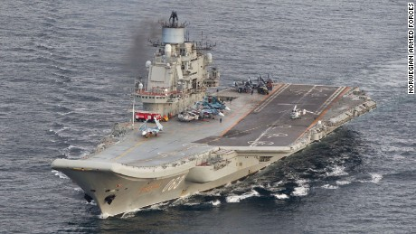 The Russian aircraft carrier Admiral Kuznetsov, in a photo provided by the Norwegian Armed Forces.