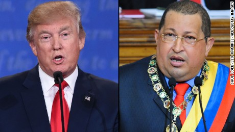 A new online video shared by the Democratic National Committee compares Republican presidential candidate Donald Trump with the late Venezuelan President Hugo Chavez.