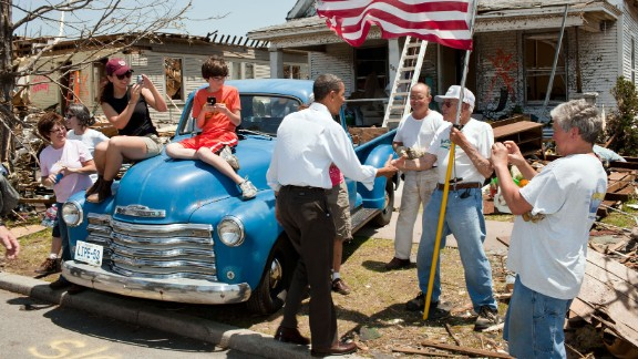 Obama greets Hugh Hills, 85, in front of Hills' tornado-damaged home in Joplin, Missouri, on May 29, 2011. It was the deadliest tornado to hit American soil since the National Weather Service began keeping records in 1950. Nearly 160 people were killed.