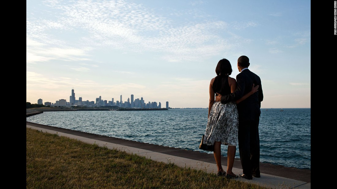 The Obamas take in the Chicago skyline on June 15, 2012. The Obamas lived in Chicago before he was President, and they still own a home there.