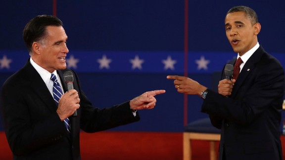 Obama faces off with Mitt Romney at a presidential debate in Hempstead, New York, on October 16, 2012. Obama was re-elected with 332 electoral votes to Romney