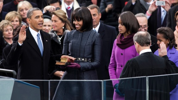 Obama takes the oath of office during his swearing-in ceremony on January 21, 2013. He is the 17th President to win a second term.