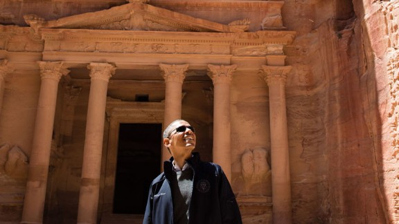 The President takes a tour of the ancient city of Petra during a visit to Jordan on March 23, 2013. He was accompanied by a University of Jordan tourism professor, and all other visitors kept well away -- except for a few stray cats.