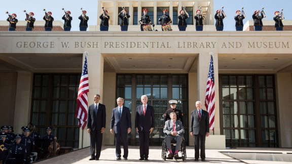 Obama and four former U.S. Presidents attend the dedication of the George W. Bush Presidential Center and Museum on April 25, 2013. From left are Obama, Bush, Bill Clinton, George H.W. Bush and Jimmy Carter.