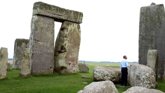 "Obama visits Stonehenge on September 5, 2014. White House photographer Pete Souza recalled that day: ""We were at the NATO summit in Wales when someone mentioned to the President that Stonehenge wasn"
