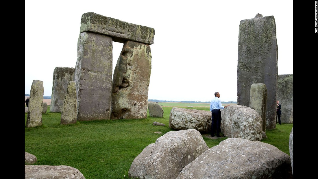 "Obama visits Stonehenge on September 5, 2014. White House photographer Pete Souza recalled that day: ""We were at the NATO summit in Wales when someone mentioned to the President that Stonehenge wasn't that far away. 'Let's go,' he said. So when the summit ended, we took a slight detour on the way back to Air Force One."""
