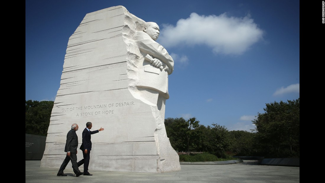 Obama and Indian Prime Minister Narendra Modi visit the Martin Luther King Memorial in Washington on September 30, 2014.