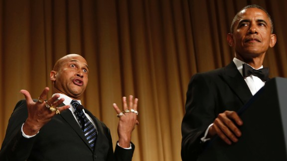 "Obama speaks next to comedian Keegan-Michael Key, who is playing Luther, ""Obama"