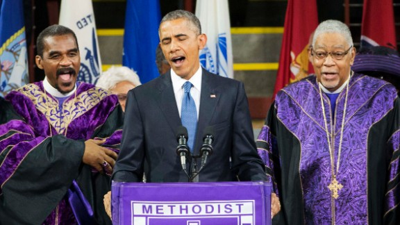"Obama sings ""Amazing Grace"" during services honoring the life of South Carolina state Sen. Clementa Pinckney on June 26, 2015. Pinckney was one of nine people killed in a church shooting in Charleston, South Carolina."