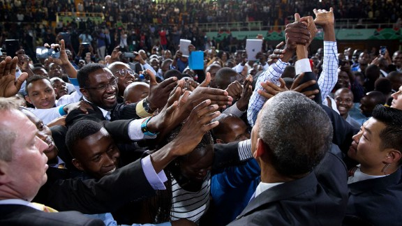 Obama greets audience members after speaking in Nairobi, Kenya, on July 26, 2015. He was making his first visit to his father
