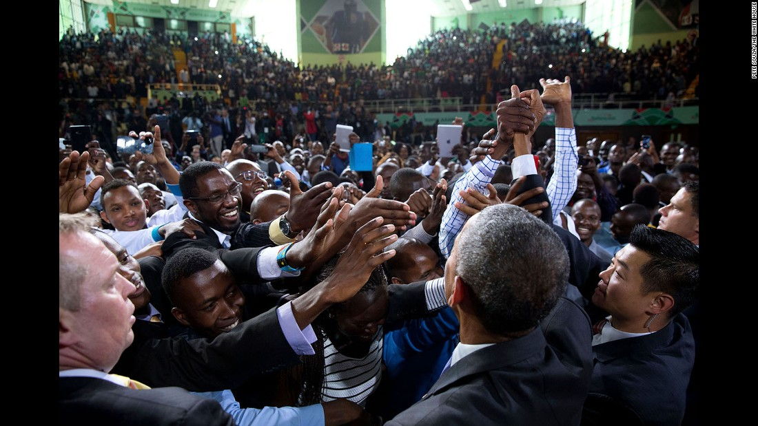 Obama greets audience members after speaking in Nairobi, Kenya, on July 26, 2015. He was making his first visit to his father's homeland as commander in chief.