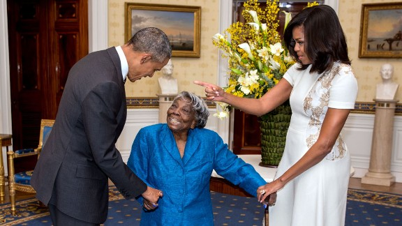 The Obamas greet Virginia McLaurin, 106, before a White House reception celebrating African-American History Month on February 18, 2016. McLaurin was so excited that she started dancing, and the video went viral.
