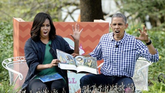 The Obamas read a book to children at the annual White House Easter Egg Roll on March 28, 2016. The Easter Egg Roll has been a White House tradition since 1878, when President Rutherford B. Hayes allowed children to roll eggs on the South Lawn.