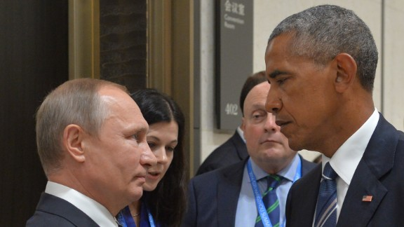 "Russian President Vladimir Putin meets Obama at the G-20 Summit in Hangzhou, China, on September 5, 2016. Obama, who had a 90-minute session with Putin, said their talk was ""candid, blunt and businesslike,"" and included the issues of cyberintrusions and the Syrian conflict."