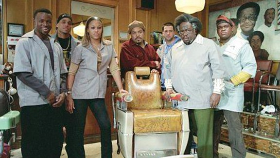 """""""Barbershop"""": Rapper/actor Ice Cube (in red) heads up the cast of this comedy about the characters in a barbershop on the South Side of Chicago. (Amazon Prime, Hulu)"""