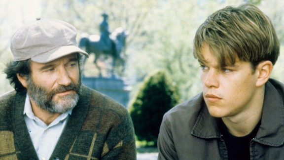 """""""Good Will Hunting"""": How do you like them apples? Matt Damon (here with co-star Robin Williams) and Ben Affleck won a screenwriting Academy Award for this film about a Boston bad boy who comes to terms with himself. (Hulu)"""