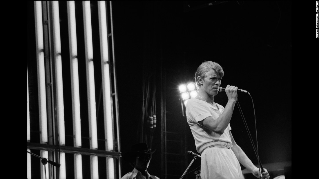 "David Bowie performs at the Oakland Coliseum in Oakland, California. ""Here's an artist that constantly reinvented himself,"" Zagaris said. ""That particular show, it was all sound and light, and he had three changes of wardrobe."""
