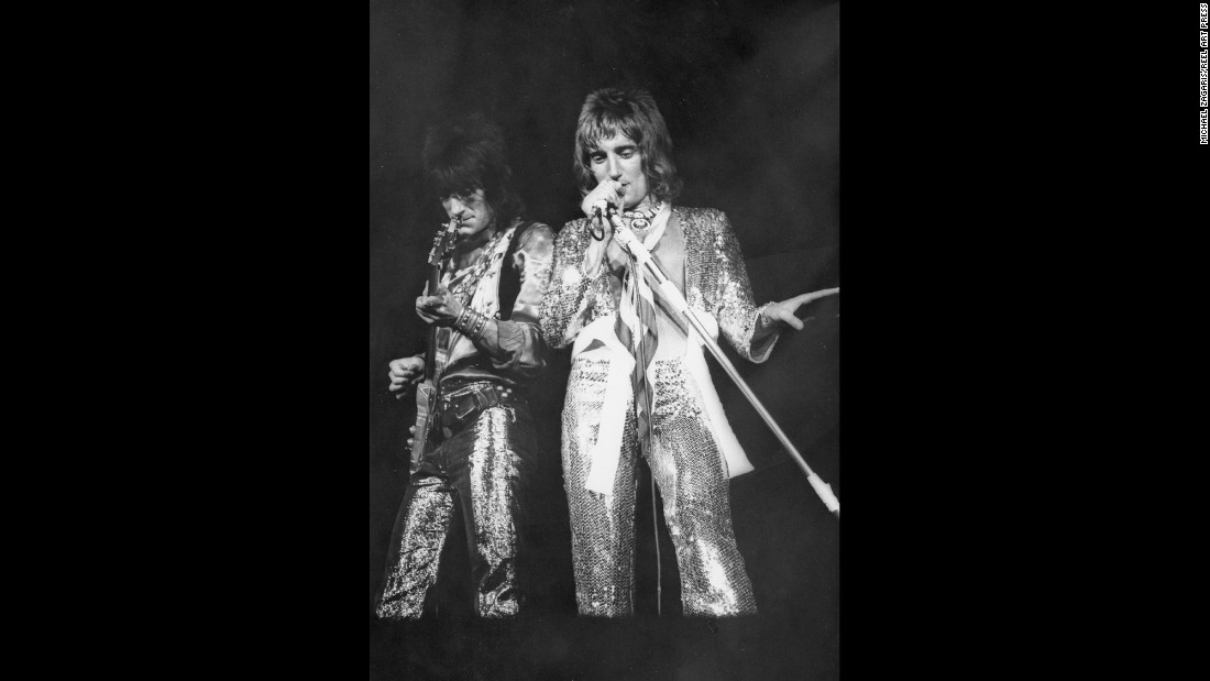 "Rod Stewart, right, and Ronnie Wood perform one of the Faces' final shows in 1972. ""The Faces were kind of like an ongoing party,"" Zagaris remembered."