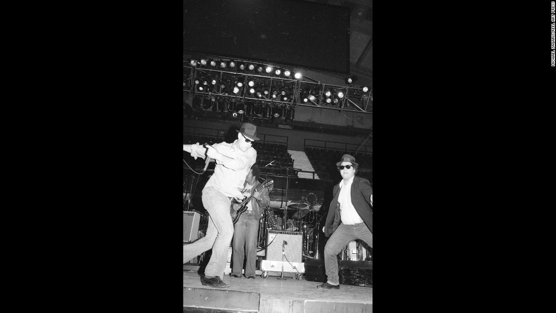 The Blues Brothers do a soundcheck at the Winterland Ballroom in San Francisco in 1978. That night, they opened for the Grateful Dead. It was the venue's final concert before it closed.