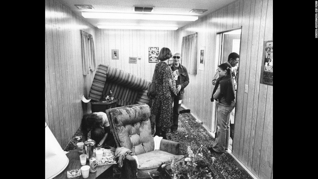 "The dressing room of Keith Moon, in utter disarray. The Who's drummer was notorious for trashing hotel rooms and being a prankster. ""I loved being around him, as long as I didn't have to pay the legal bills,"" Zagaris said."