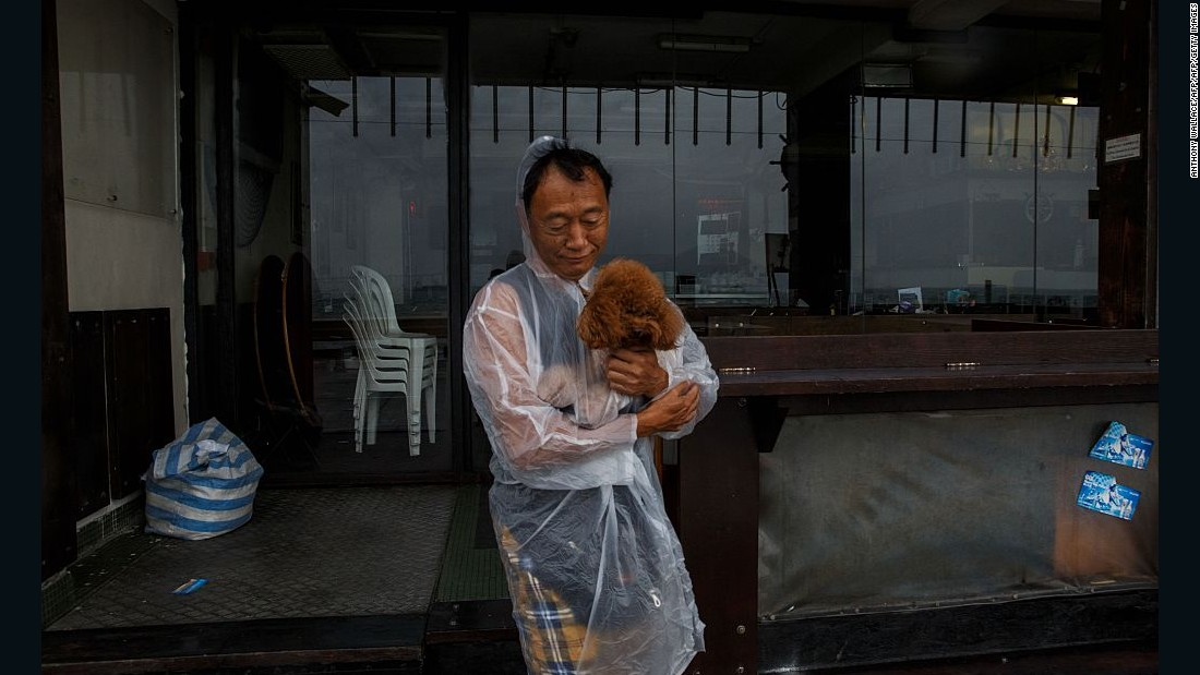 A man protects his poodle from the rain as Typhoon Haima heads to Hong Kong.