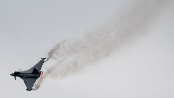 FAIRFORD, ENGLAND - JULY 07:  A Eurofighter Typhoon comes into land at RAF Fairford on the press preview day ahead of the Royal International Air Tattoo which opens tomorrow on July 7, 2016 in Fairford, England. Royal International Air Tattoo (RIAT) which opens tomorrow is is the world