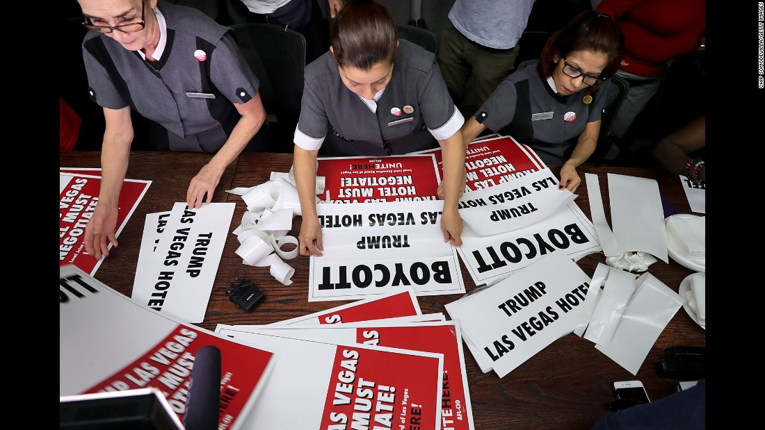 Culinary workers from the Trump International Hotel assemble picket signs at their union headquarters in Las Vegas on Tuesday, October 18. The signs would be used to protest Donald Trump the next day, when the Republican nominee took part in the final presidential debate.