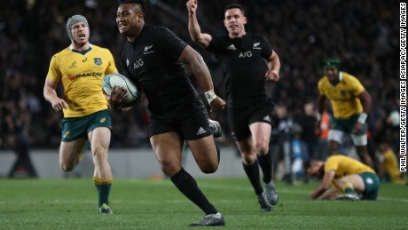 Julian Savea runs in a try during New Zealand's Bledisloe Cup win against Australia.