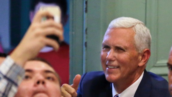 Republican vice presidential candidate Mike Pence greets supporters at a campaign event on, Friday, October 21.