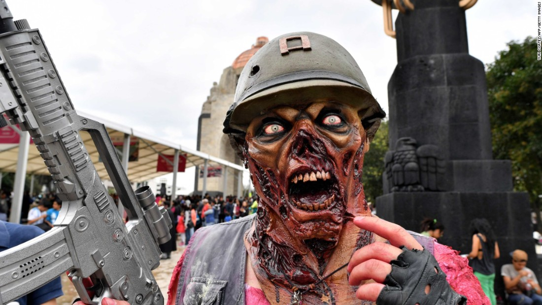 An undead soldier takes part in the walk.