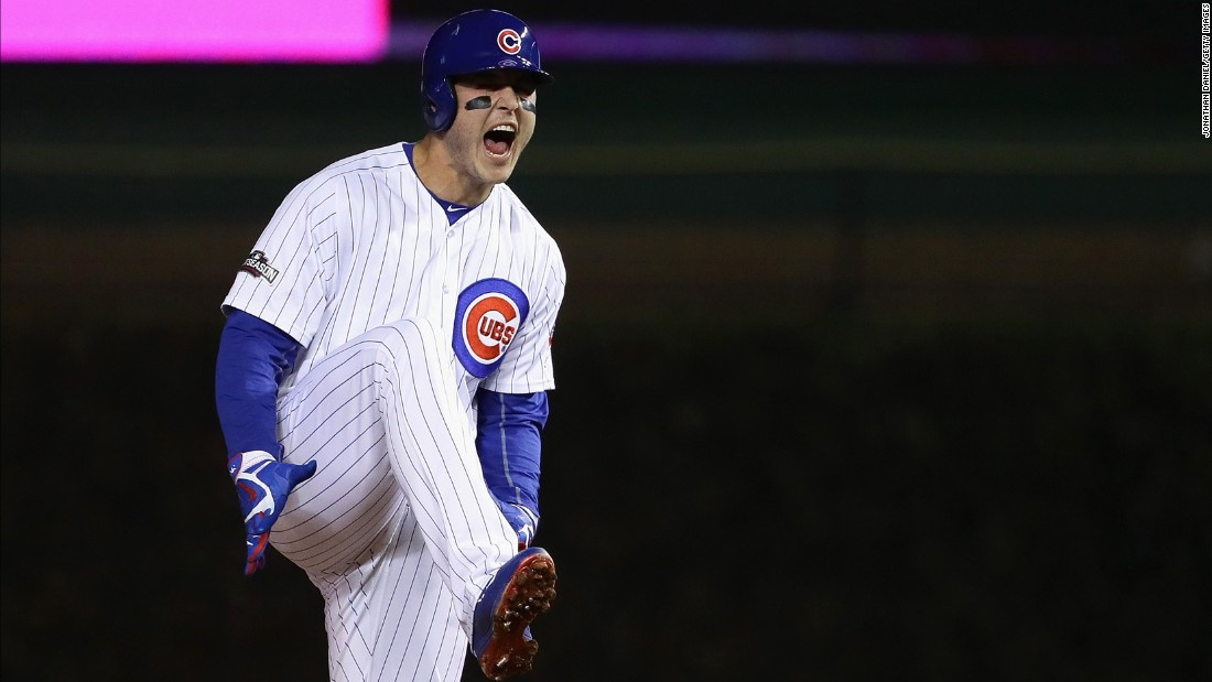 Anthony Rizzo of the Chicago Cubs celebrates after hitting a double in the first inning.